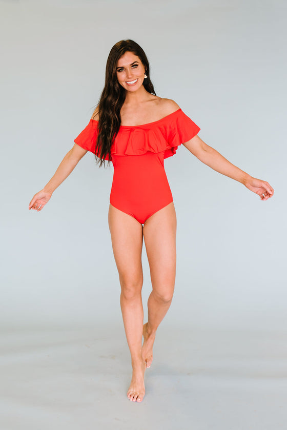 ELLIE RUCHED BANDEAU RUFFLE ONE PIECE SWIMSUIT IN RED