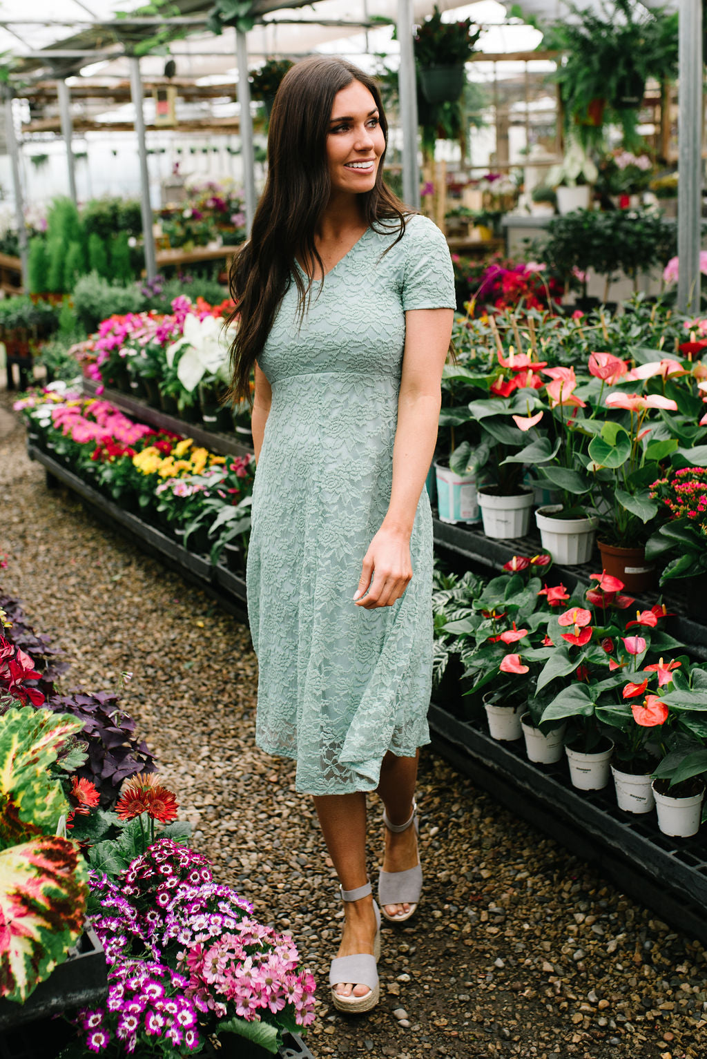 AMANDA MIDI LACE DRESS IN SAGE