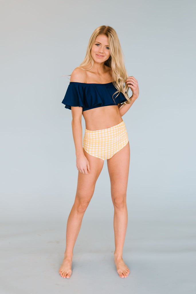 RACHAEL SWIM SUIT RUFFLE BANDEAU TOP IN NAVY