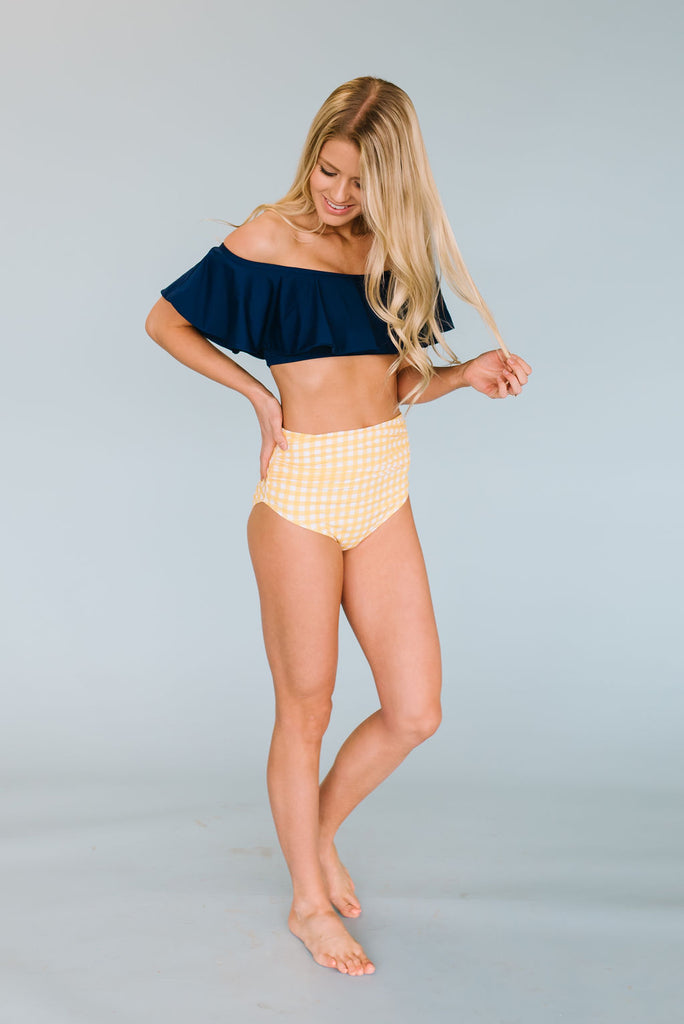 ISABELLE HIGH-WAIST BOTTOMS IN YELLOW AND WHITE GINGHAM