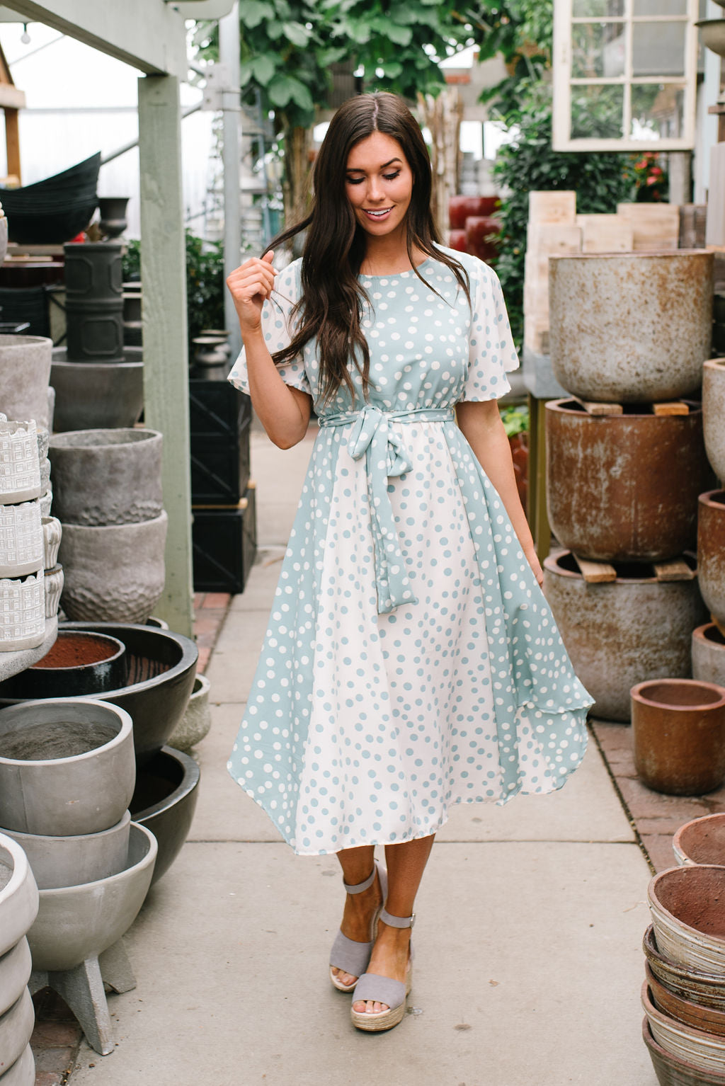 ELSIE MIDI DRESS IN DUSTY SAGE POLKA DOT