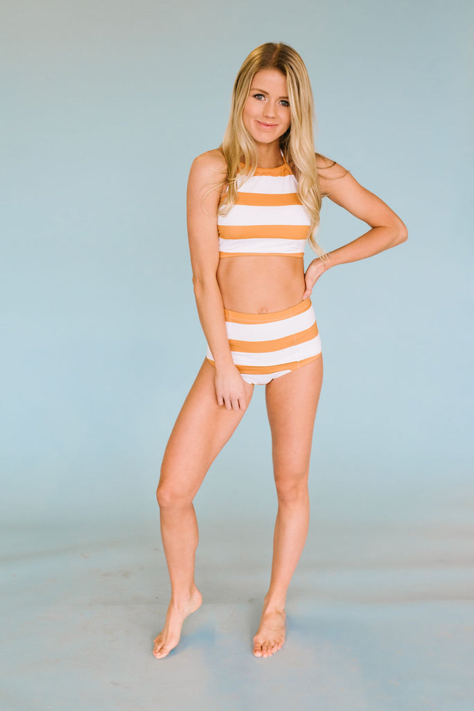 SUNSHINE STRIPED HALTER TOP