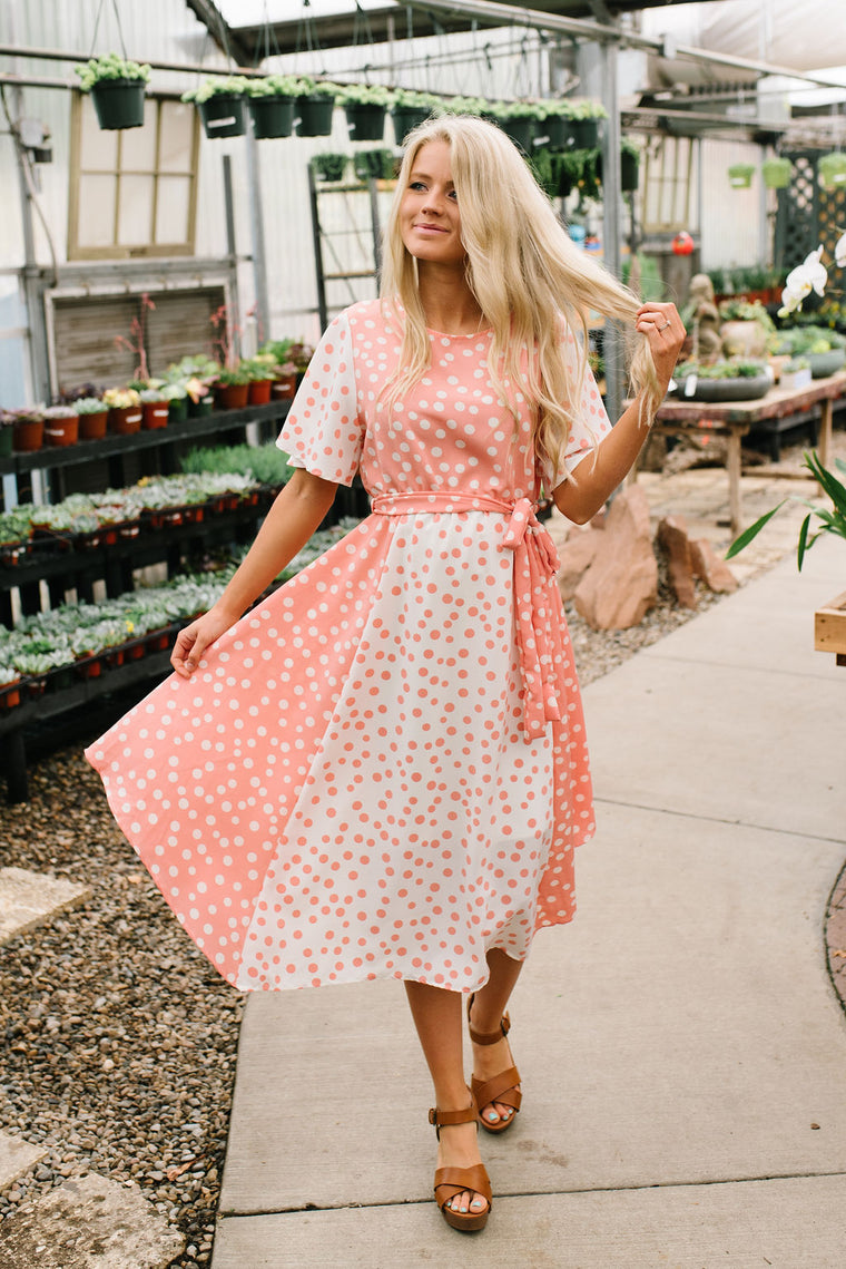 5348e8c40c6d ELSIE MIDI DRESS IN CORAL POLKA DOT