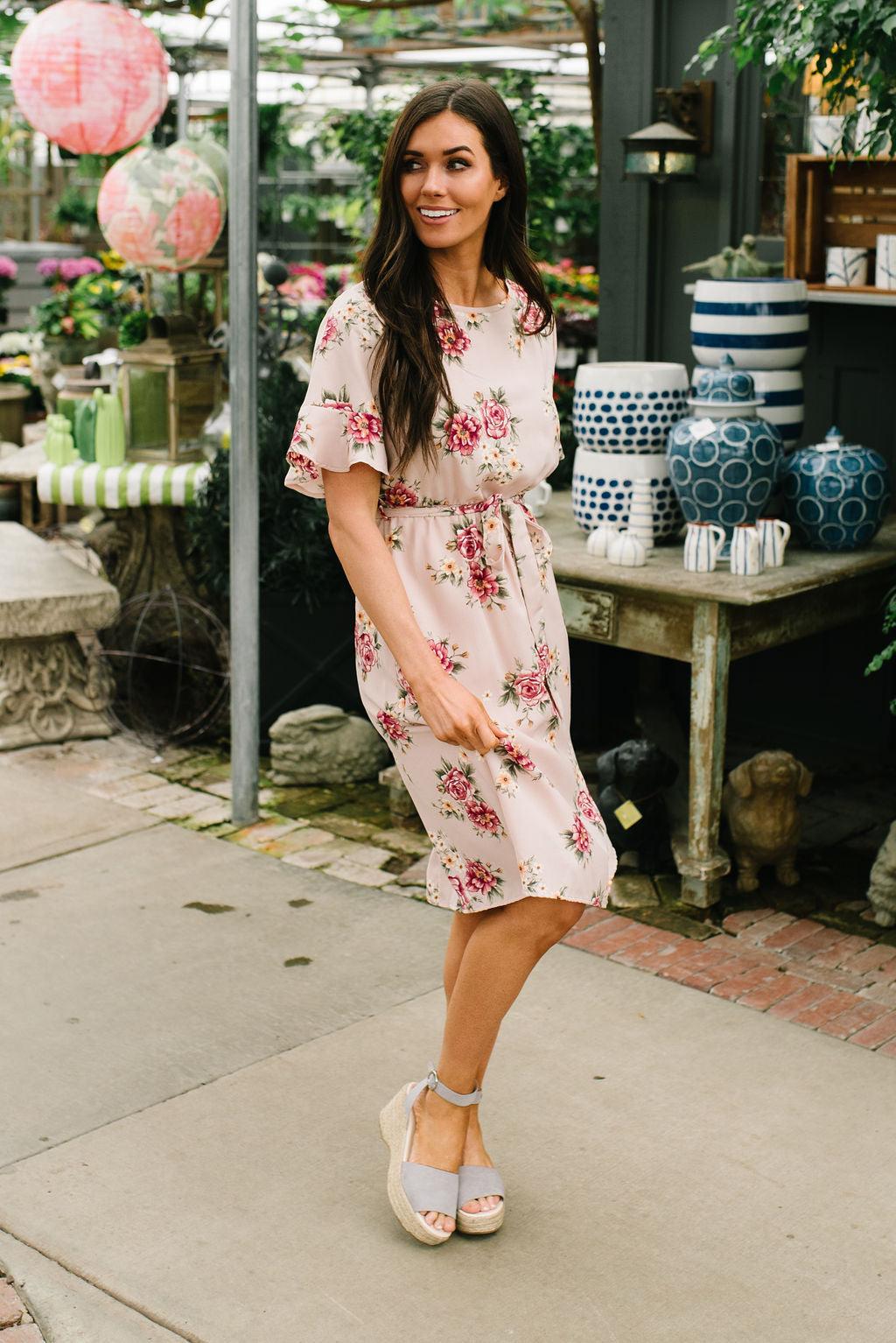 EMILY MIDI FLORAL DRESS IN BLUSH