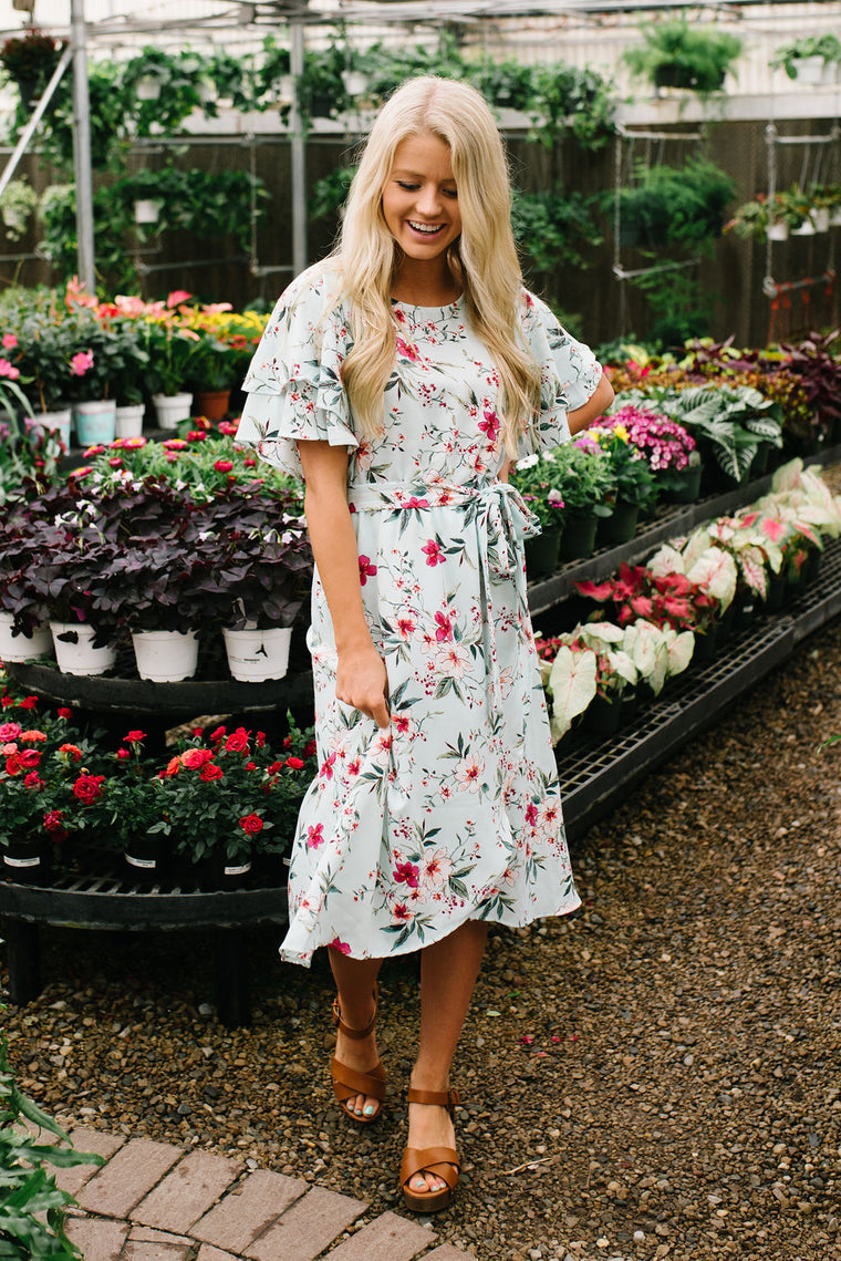 LOLA FLORAL DRESS IN SKY BLUE