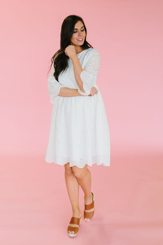 ELLEN EYELET MIDI DRESS WITH RUFFLED SLEEVES IN WHITE