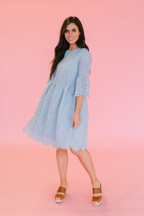 ELLEN EYELET MIDI DRESS WITH RUFFLED SLEEVES IN ASH BLUE