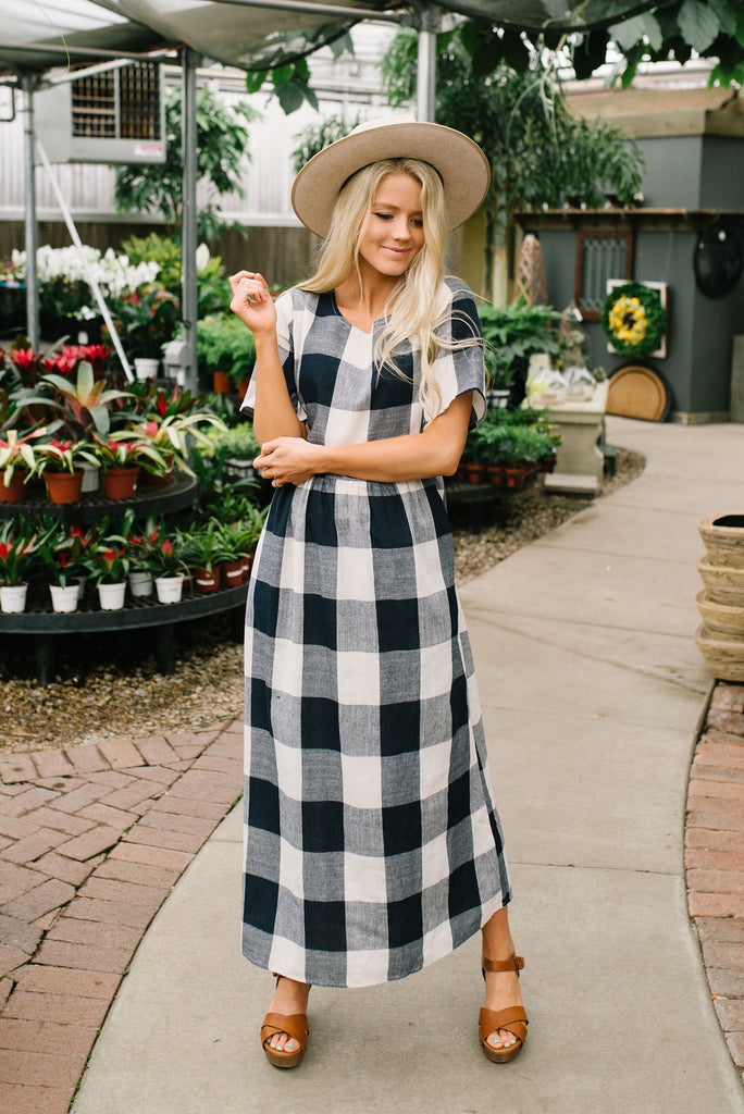 MOLLY MIDI DRESS BLUE BUFFALO PLAID