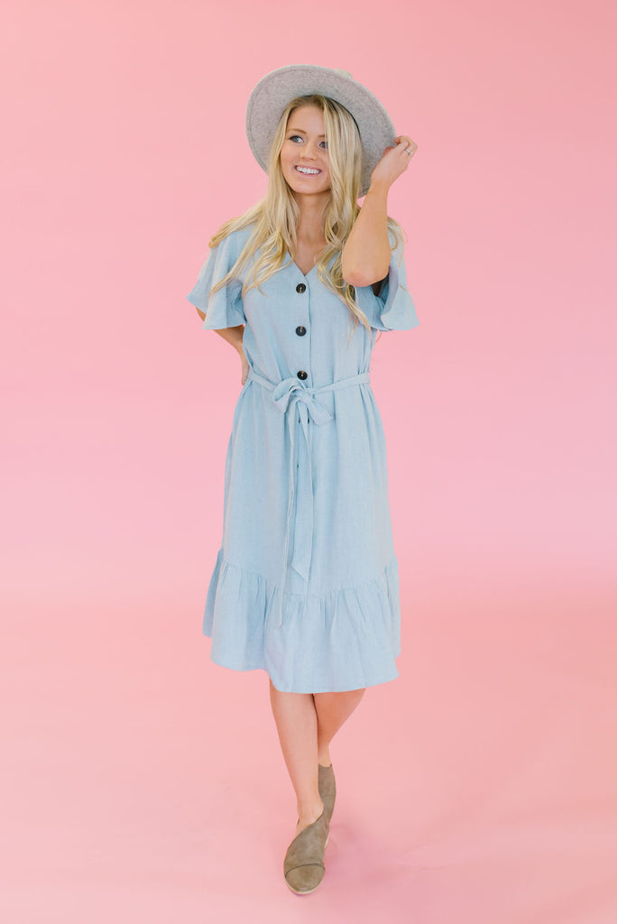 TAITE MIDI RUFFLE DRESS IN SLATE BLUE