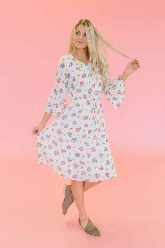MIMI MIDI FLORAL DRESS IN IVORY