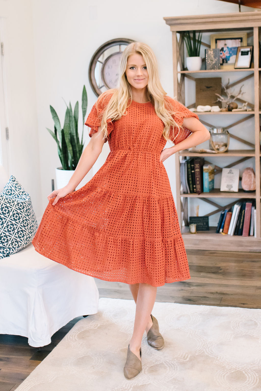e78ee2896 ADELAIDE EYELET EMBROIDERED MIDI DRESS IN RUST - Citrus & Lemon