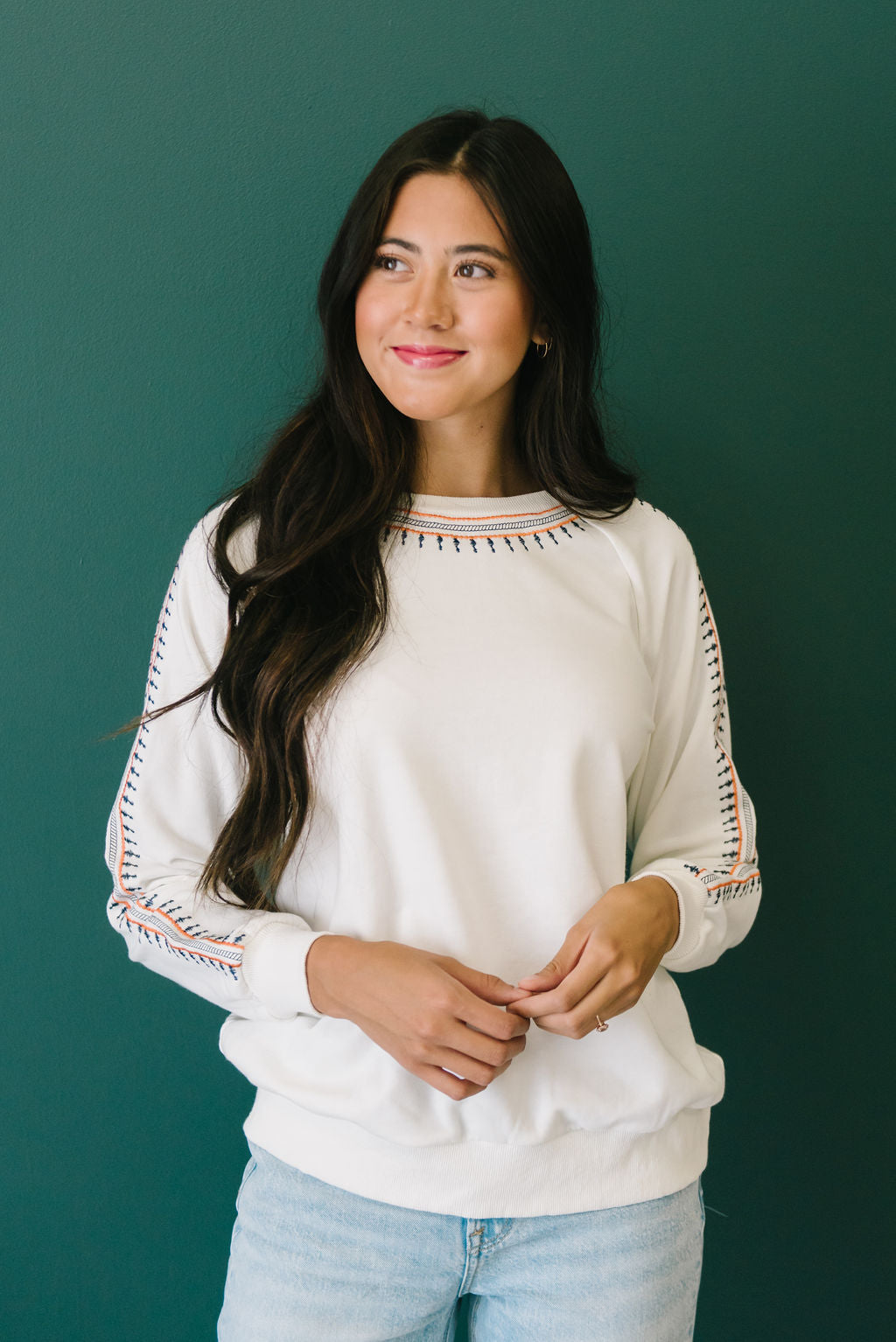 EVERLY PULLOVER IN WHITE WITH EMBROIDERED TRIM