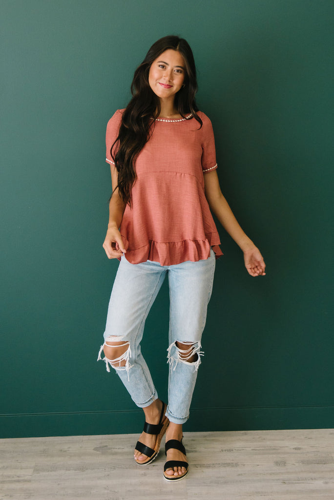 MARLEY TOP IN RUST WITH CREAM TRIM