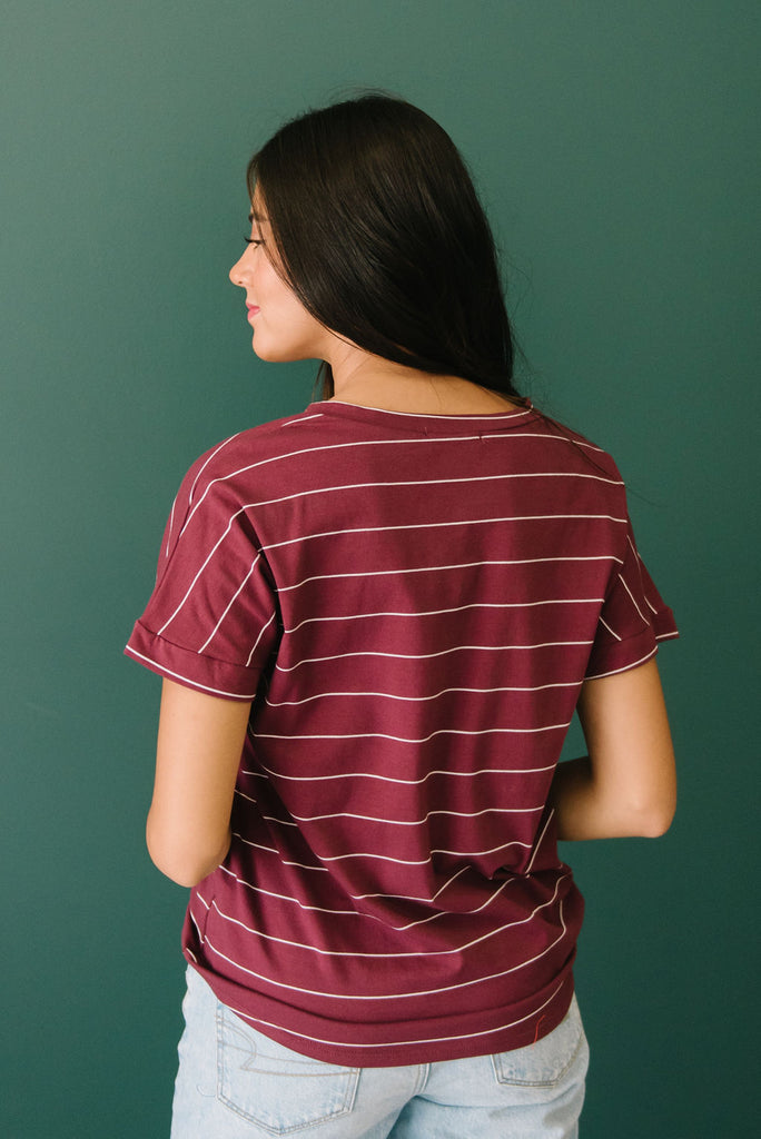 EDITH TOP IN BURGUNDY AND WHITE STRIPES