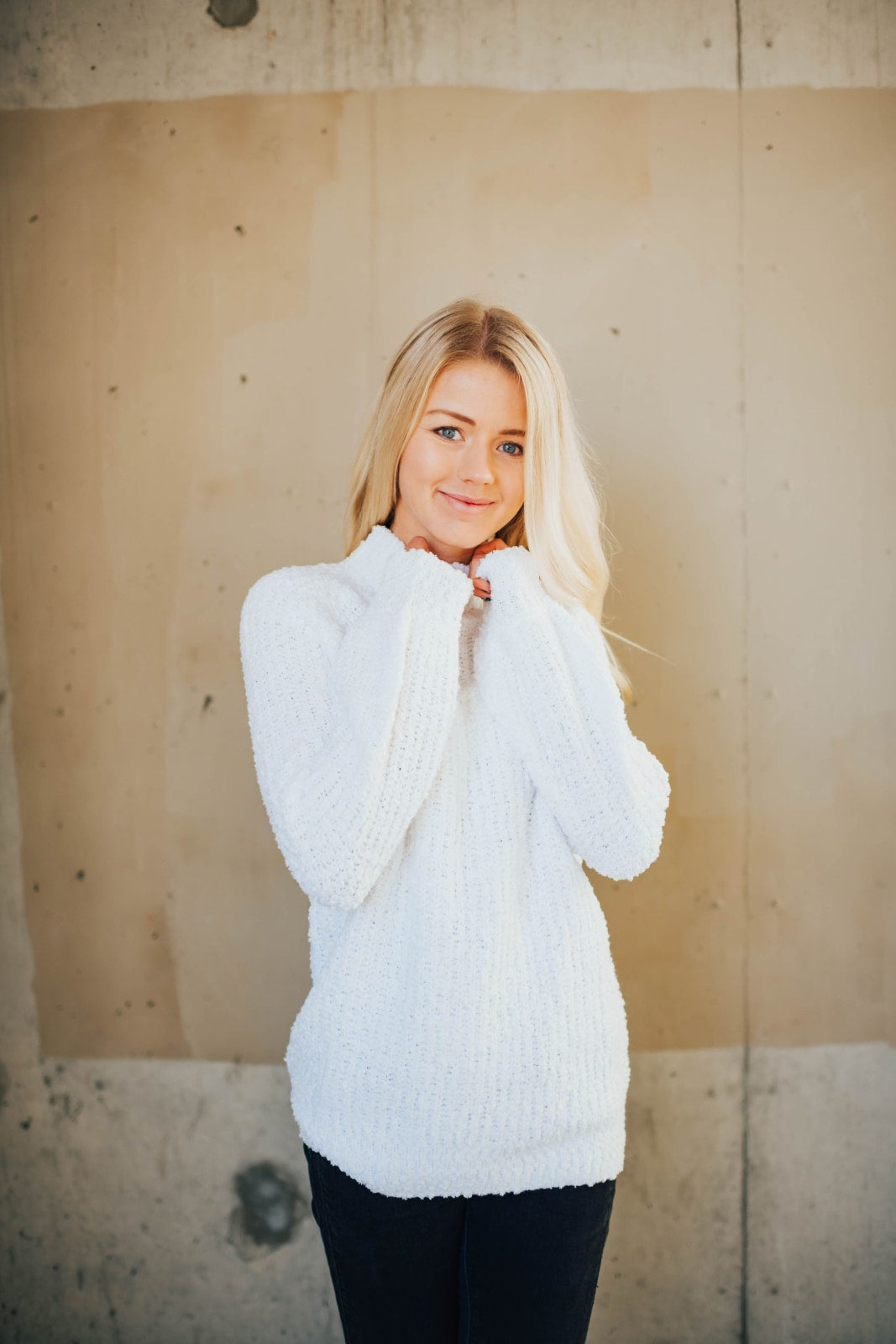 Ava Chenille Sweater In Winter White - Sweater