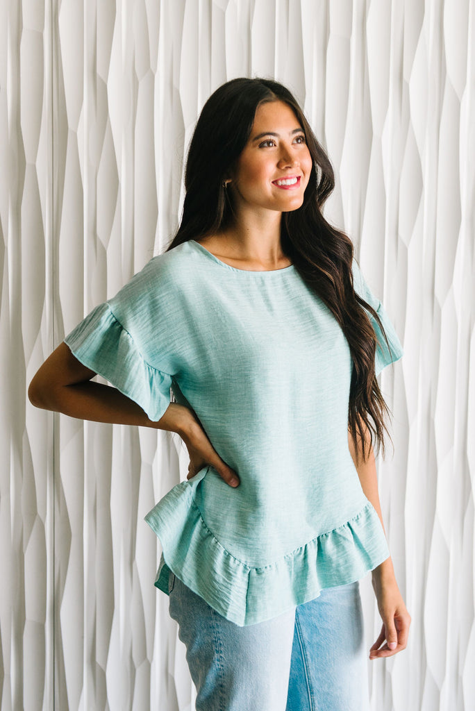 CAITE RUFFLE TOP IN MINT
