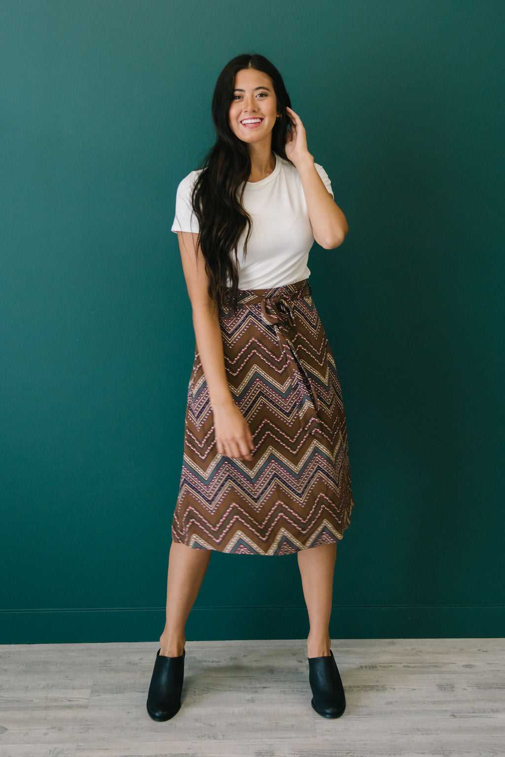 HARTLEY MIDI SKIRT IN GEOMETRIC DESIGN