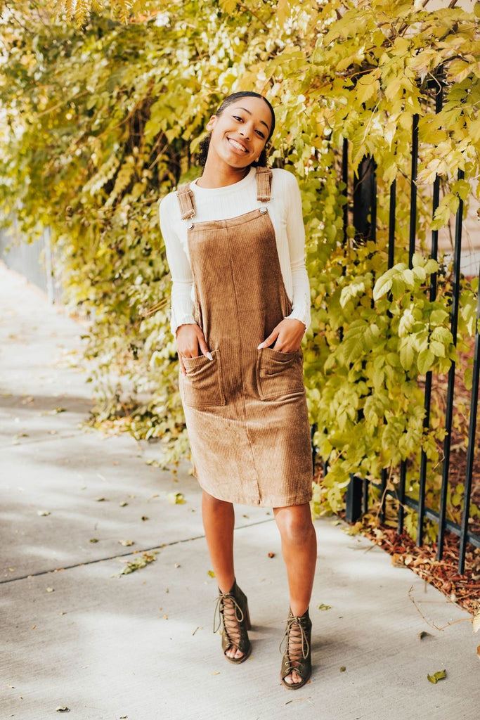 Gabby Corduroy Jumper In Mocha - Dress