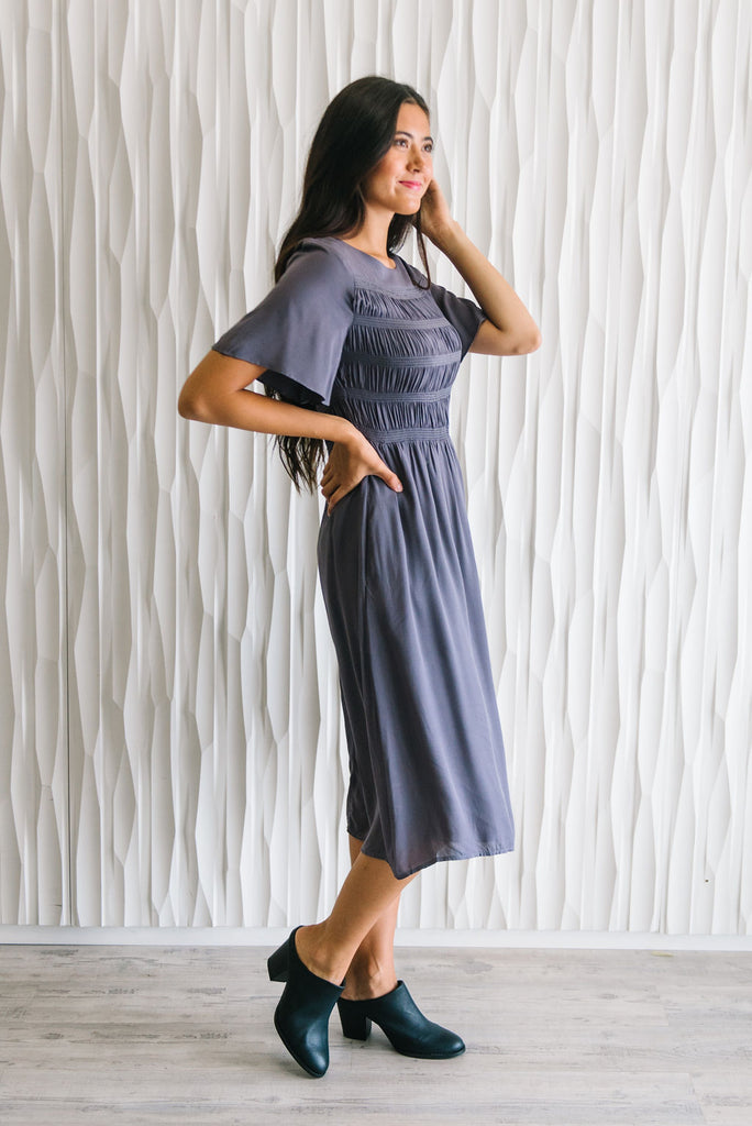 LEILA MIDI DRESS IN CHARCOAL GREY
