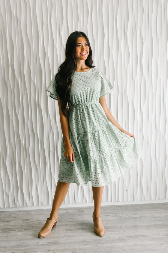 ADELAIDE MIDI EYELET DRESS IN SAGE