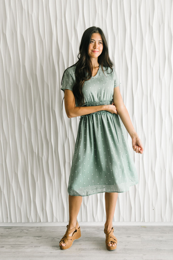 GEMMA MIDI DRESS IN SAGE WITH WHITE POLKA DOTS