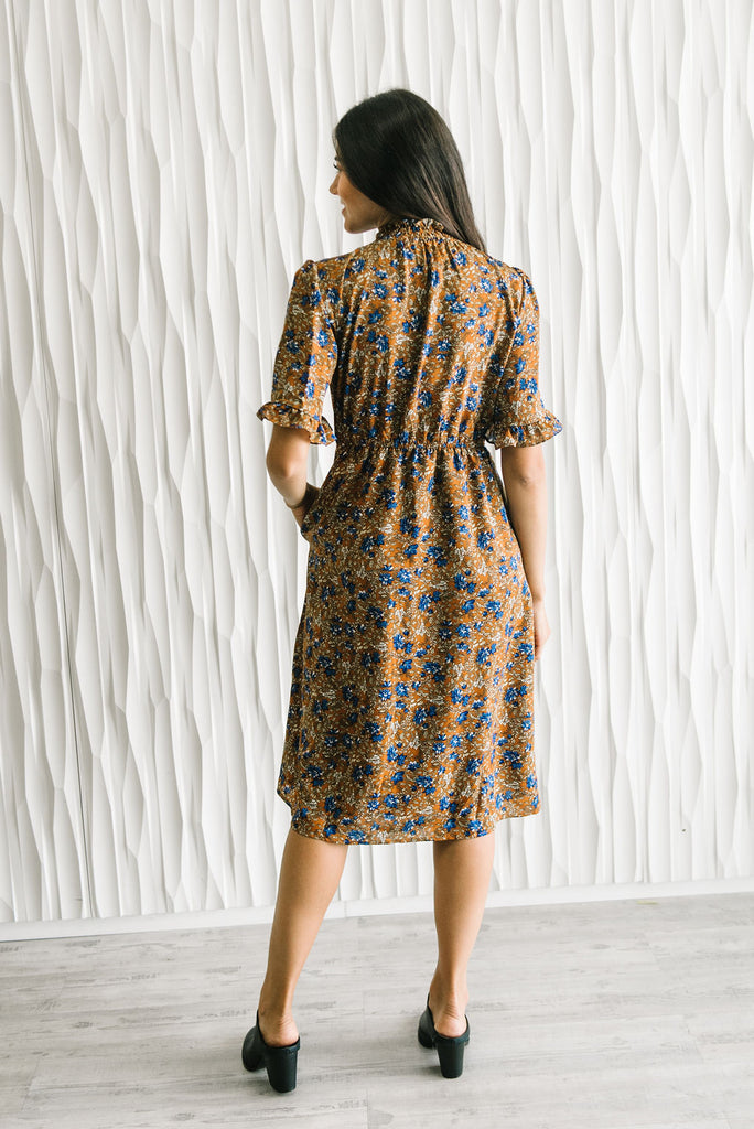 EMERY MIDI DRESS IN BLUE AND BROWN FLORAL PRINT