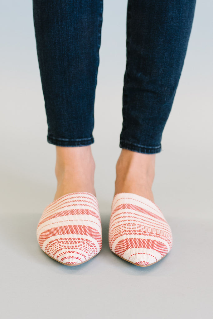 SWIRL CANVAS MULE IN RED AND WHITE STRIPE