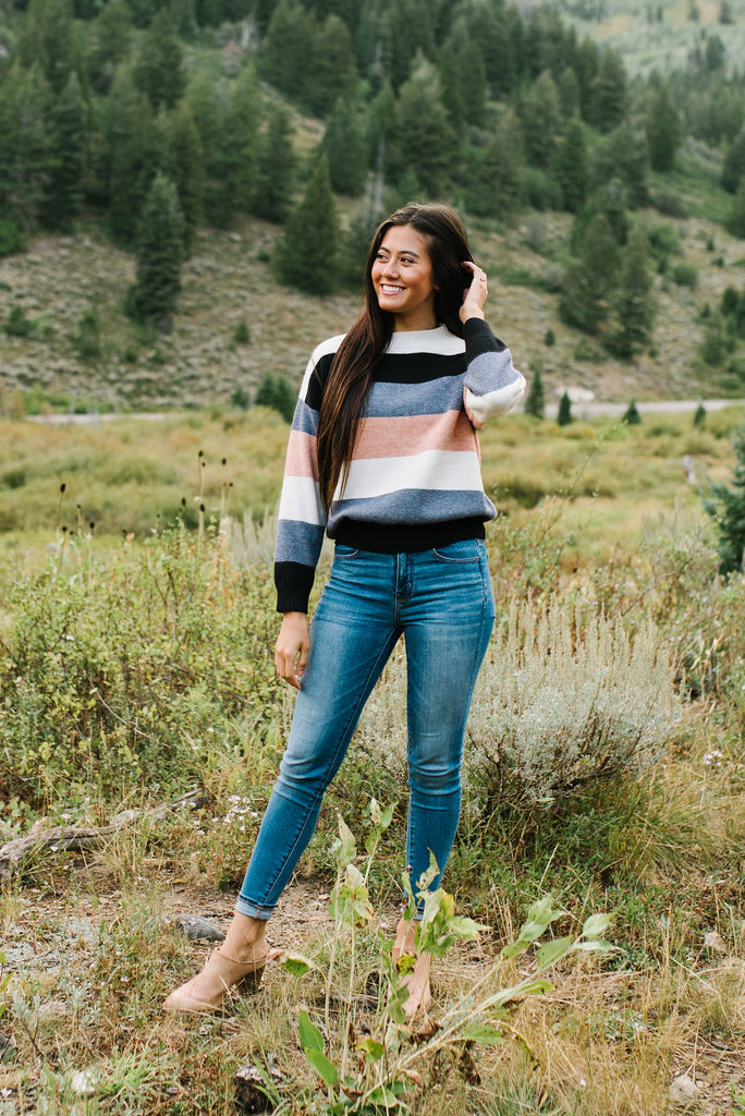 CARISSA MULTI-STRIPE KNIT SWEATER