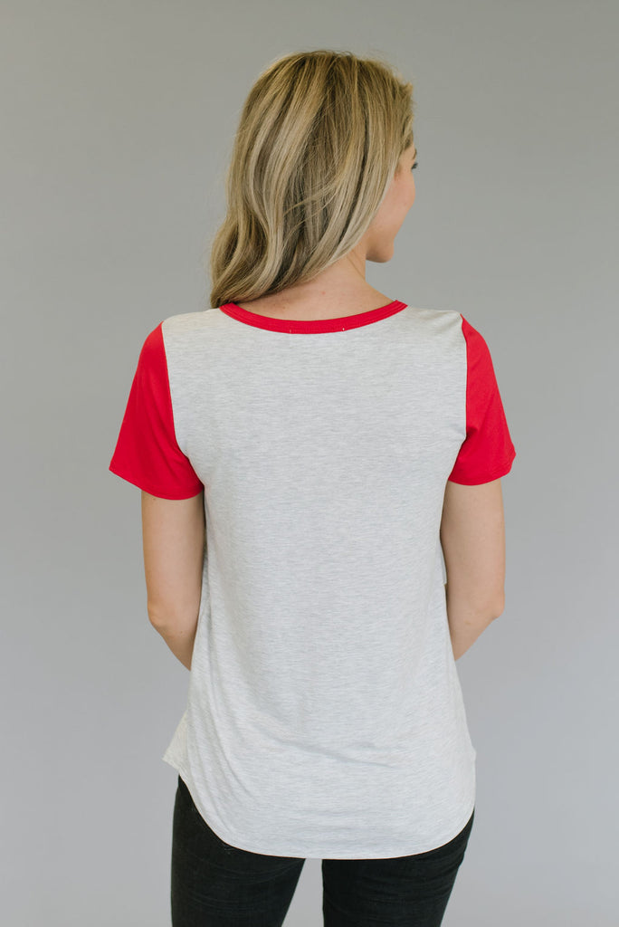 RITA TEE WITH RED SLEEVES