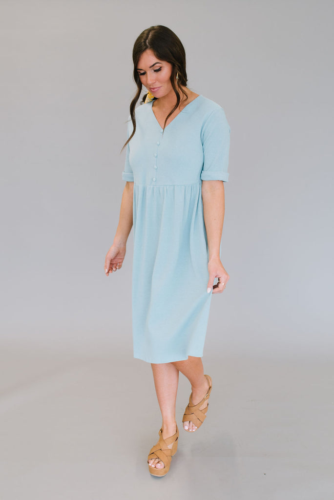NANCY MIDI DRESS IN SKY BLUE
