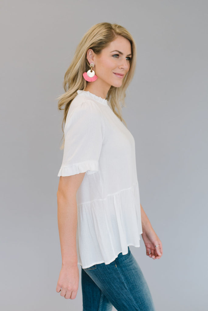 GRACE PEPLUM TOP IN WHITE