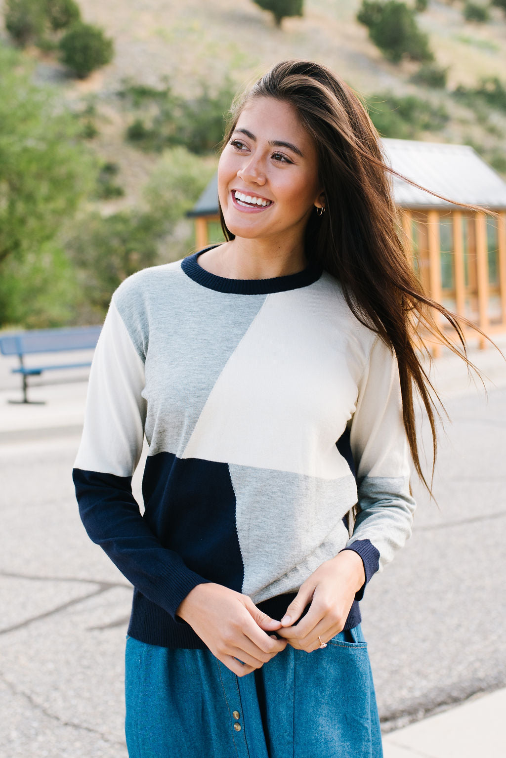 FRAN GEOMETRIC BLOCK SWEATER IN NAVY