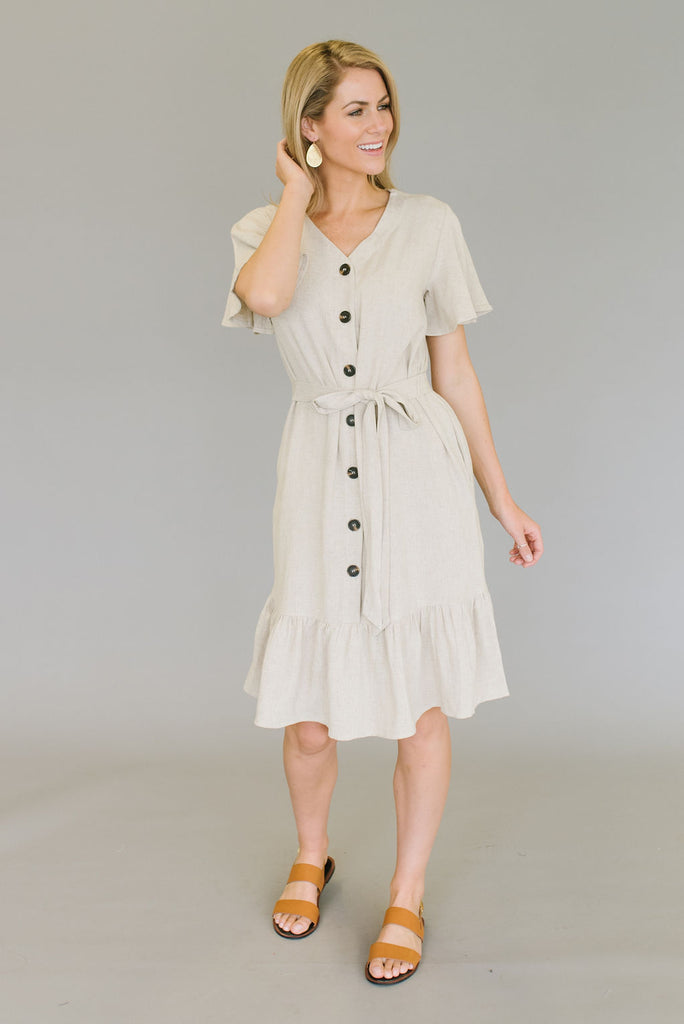 TAITE MIDI RUFFLE DRESS IN OATMEAL