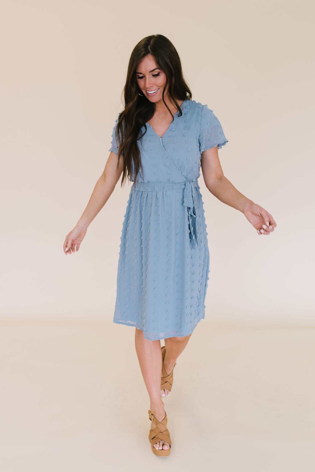 CHRISTINE MIDI POM POM DRESS IN ASH BLUE
