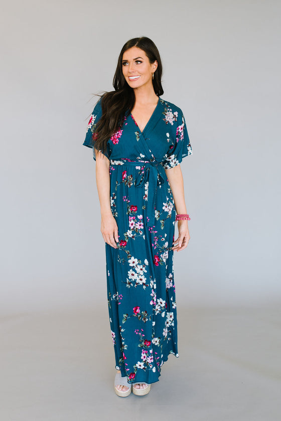 ANNE MARIE FAUX WRAP MAXI IN FLORAL PRINT
