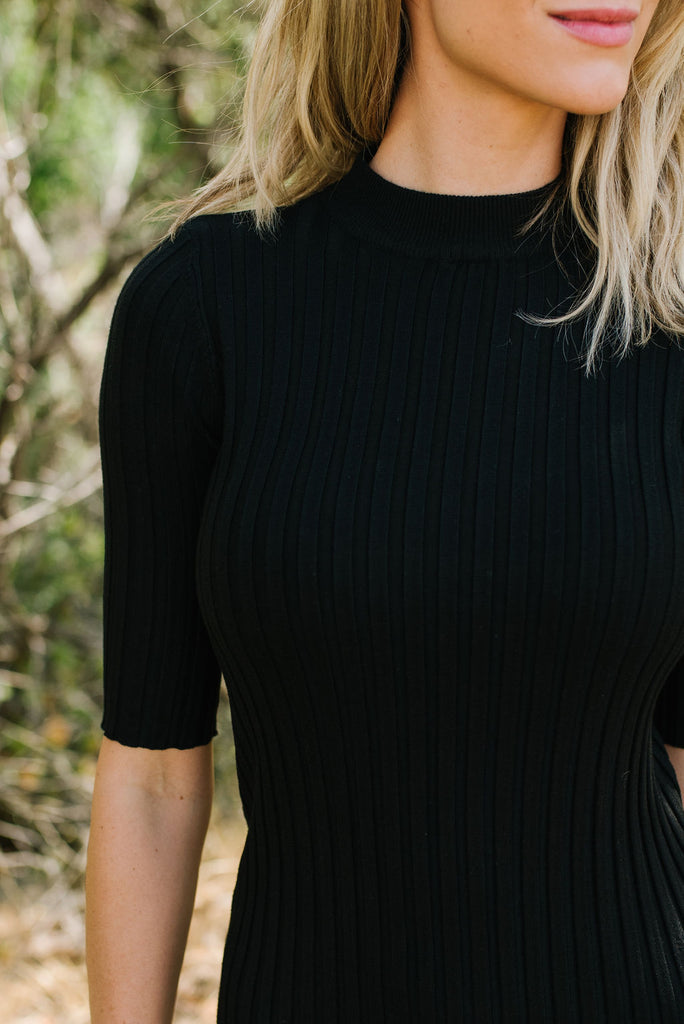 NATALIA RIBBED NECKLINE SWEATER DRESS IN BLACK