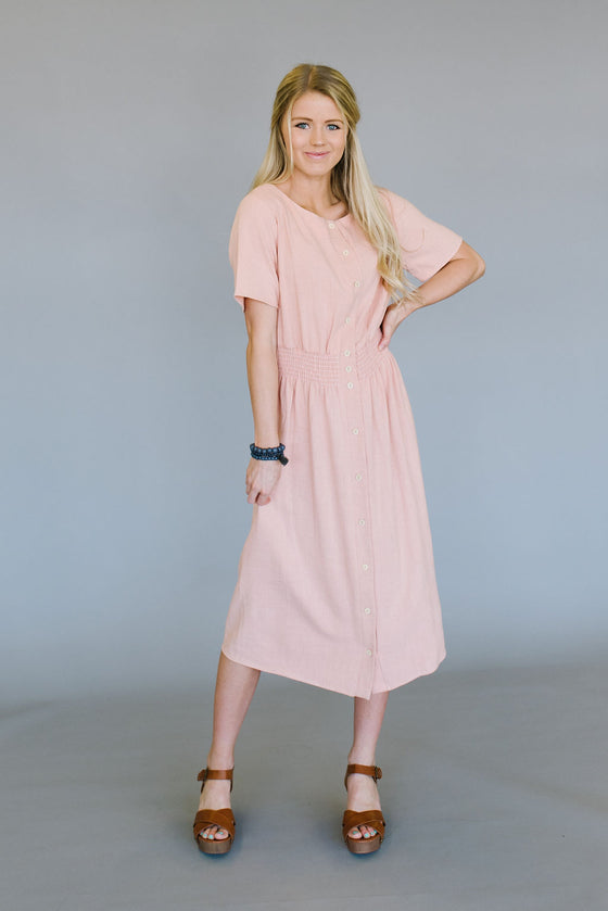 ADRIENNE MIDI DRESS  WITH SMOCKED WAIST IN PEACH