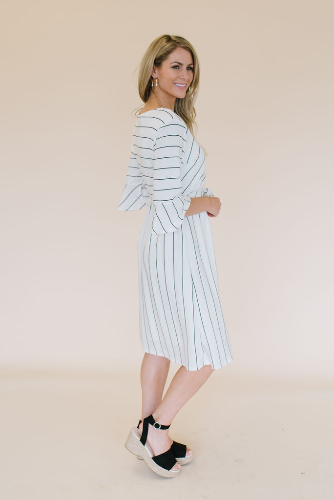 COLLEEN MIDI DRESS WITH BLACK STRIPES