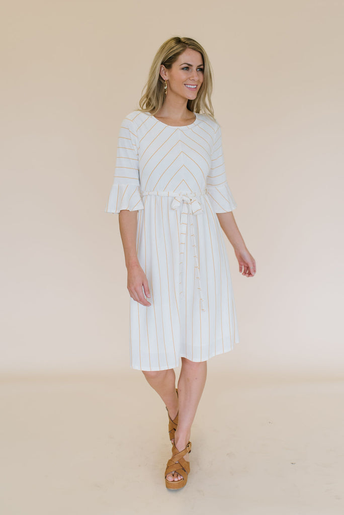 COLLEEN MIDI DRESS WITH MUSTARD STRIPES