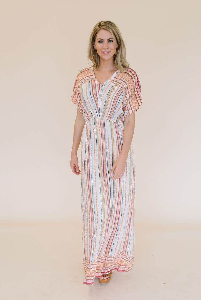 PAIGE MAXI DRESS IN PEACH, ORANGE AND YELLOW DESIGN