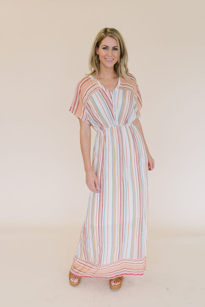 PAIGE MAXI DRESS IN PINK AND BLUE DESIGN