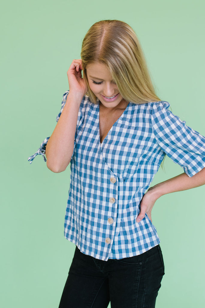 ELLIS  INDIGO GINGHAM FAUX WRAP TOP