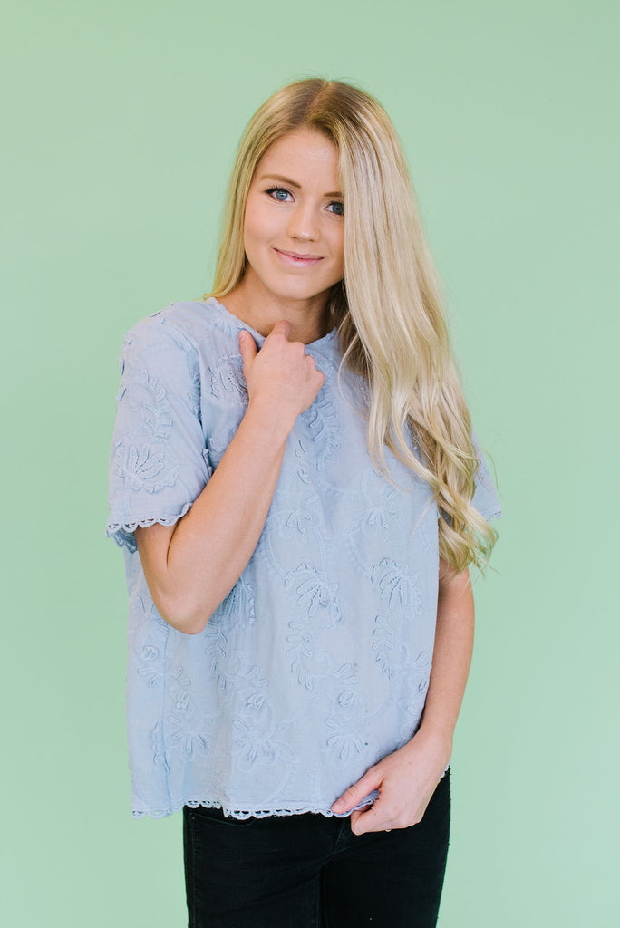 MISTY EMBROIDERED TOP IN ASH BLUE