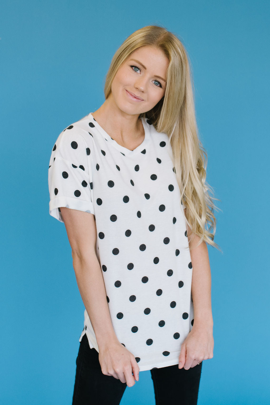 DOTTIE BLACK AND WHITE DOT TOP