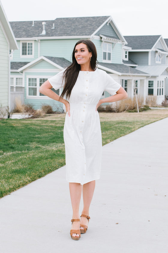 ADRIENNE MIDI DRESS  WITH SMOCKED WAIST IN WHITE