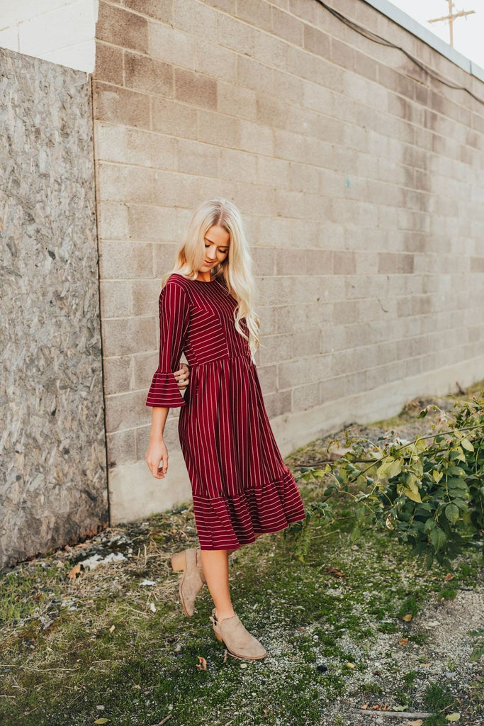 Ruby Flutter-Sleeve Dress In Burgundy - Dress