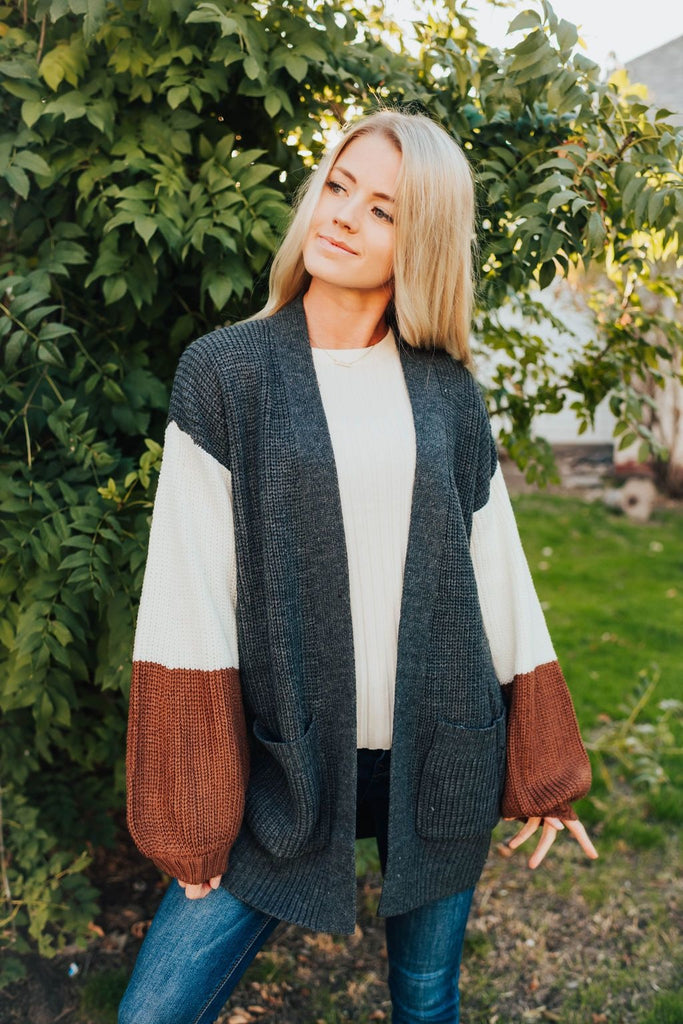 Macy Cardigan In Slate Grey - Sweater
