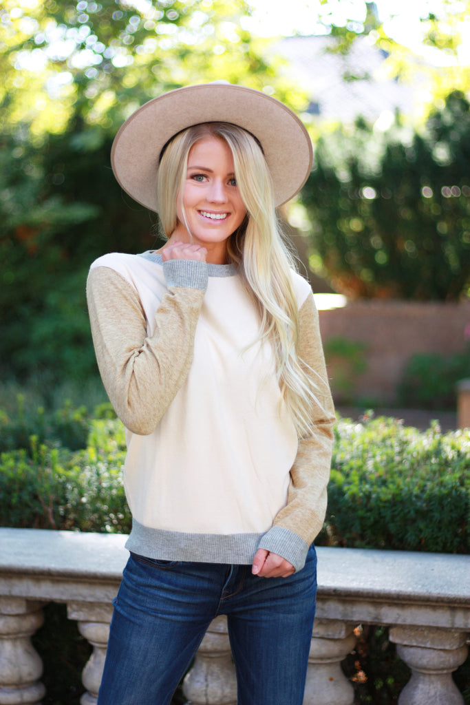 ELLEN COLOR-BLOCK SWEATER IN IVORY