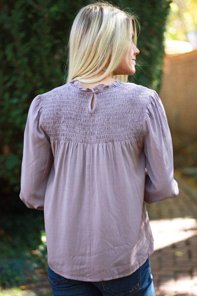 EVANGALINE TOP WITH SMOCKING IN NIGHTSHADE