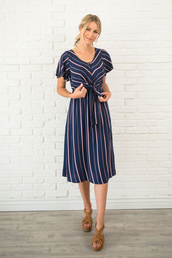 KENNEDY MIDI DRESS WITH FRONT-TIE IN NAVY BLUE